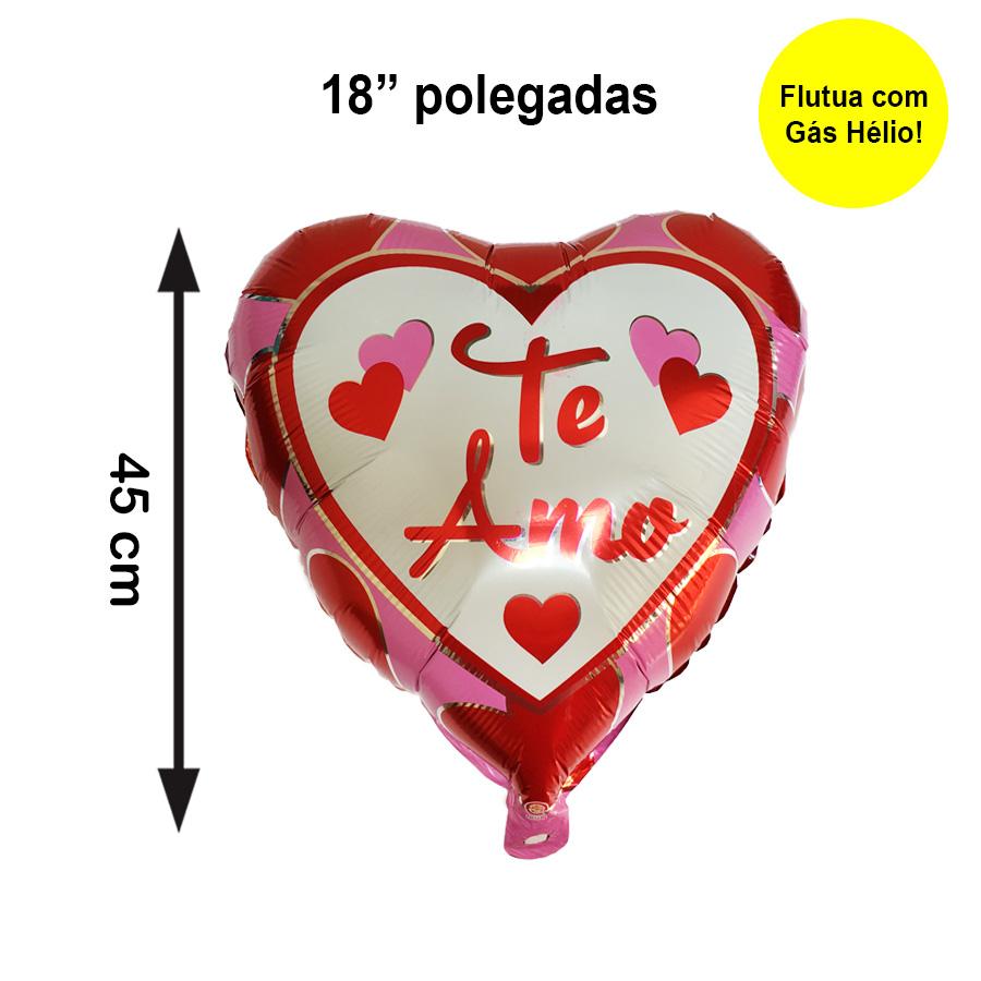 """Balão Metalizado Coração Te Amo Rosa 18"""" polegadas"""