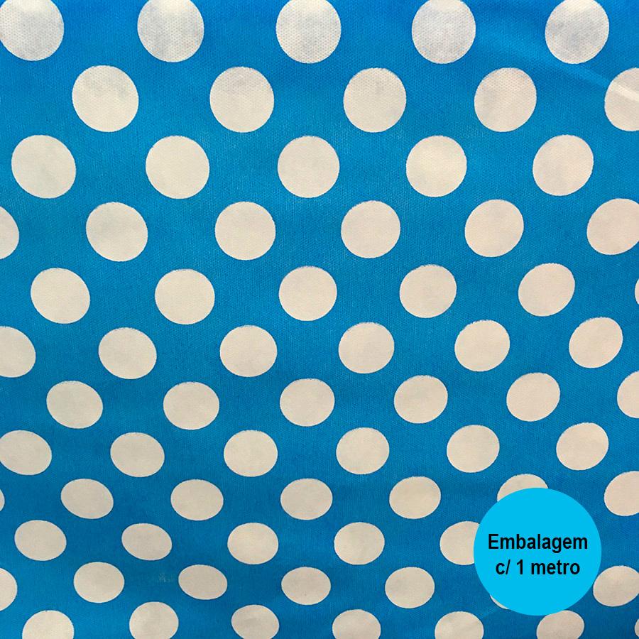 TNT Estampado Azul com Bolas Brancas - 1 metro