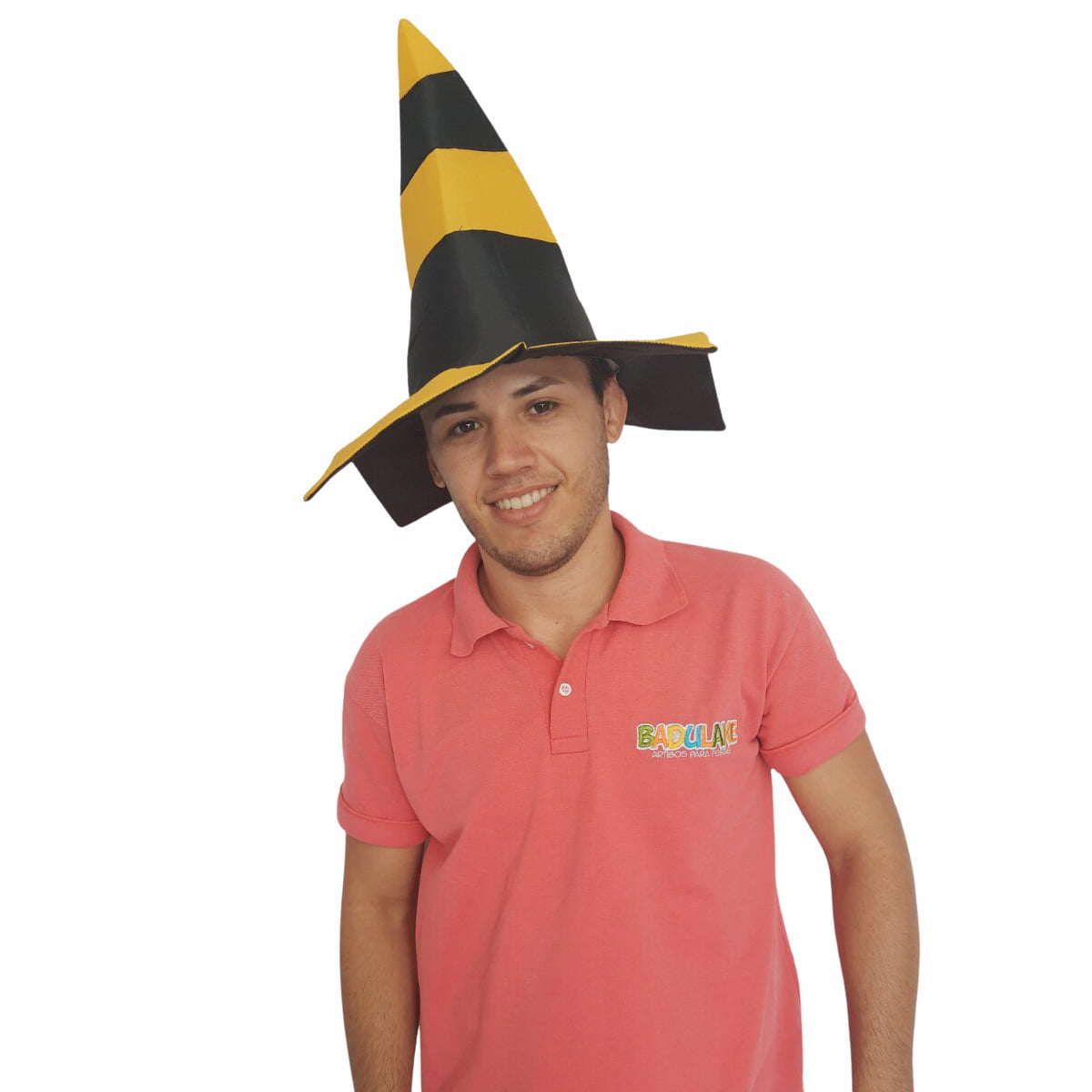 Chapéu Cone Sinalizador Preto e Amarelo
