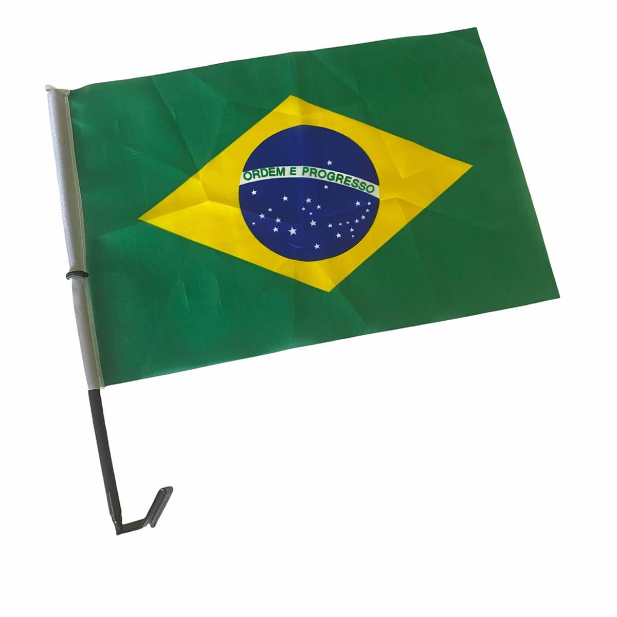 Bandeira do Brasil Tecido com Haste para Carro 45x30 cm