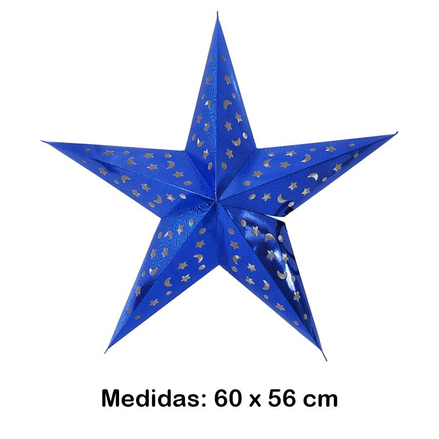 Luminária Estrela Grande Azul 60x56 cm