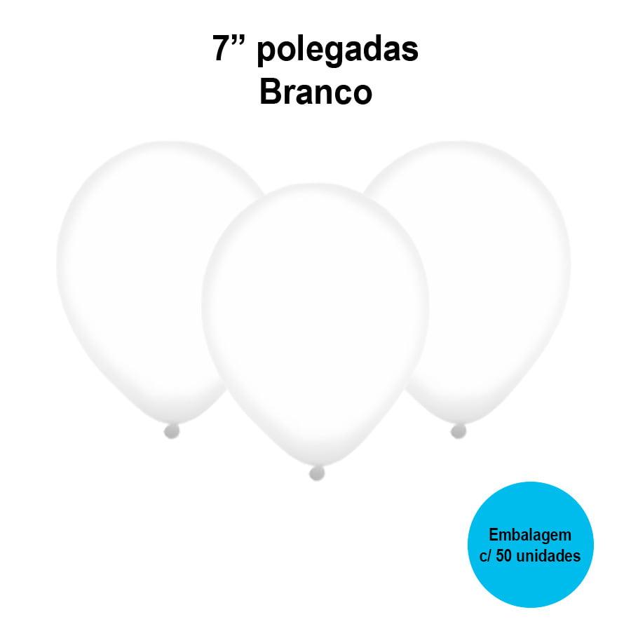 Balão Festball Liso Branco 7'' Polegadas - 50 unidades