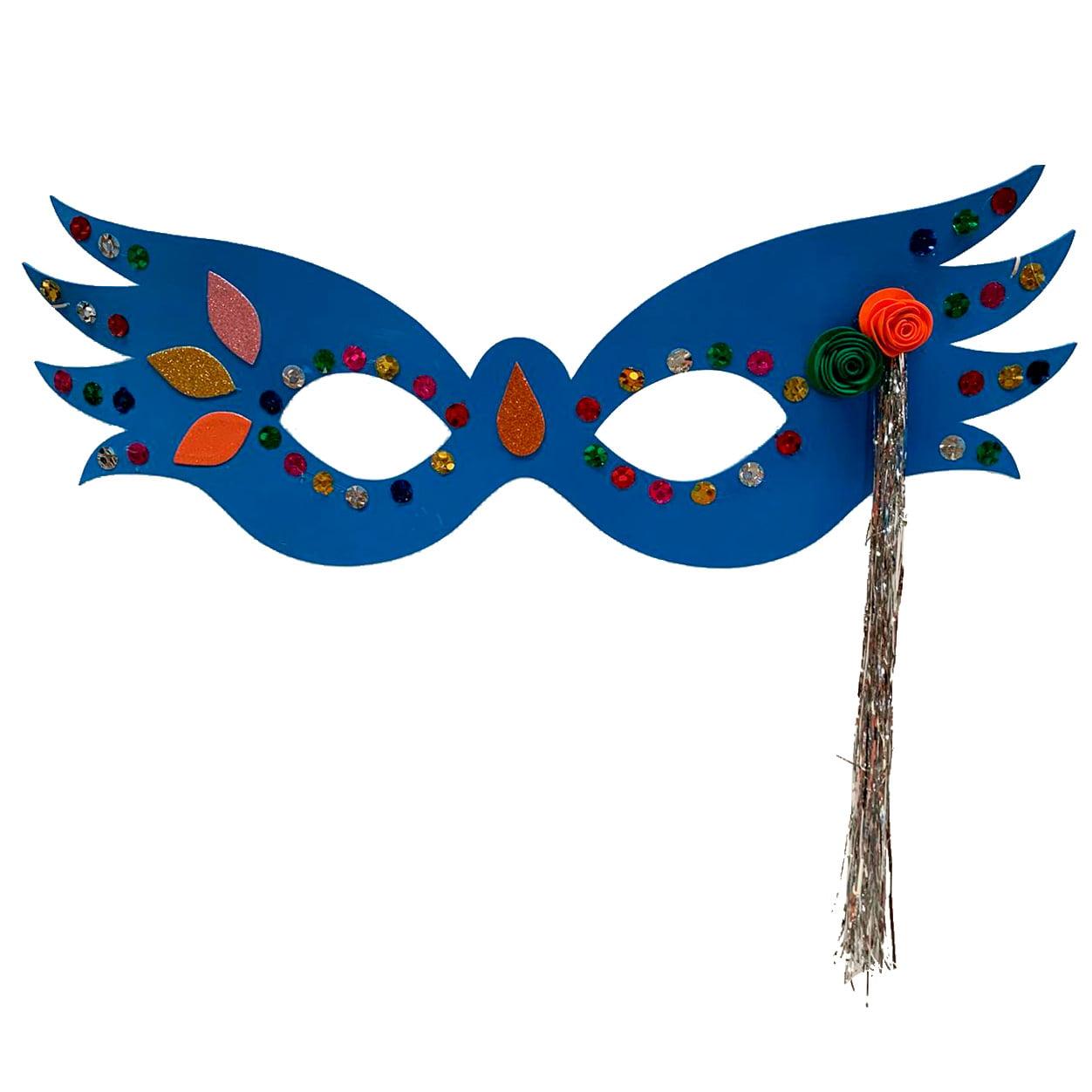 Máscara Carnaval Grande Luxo Azul