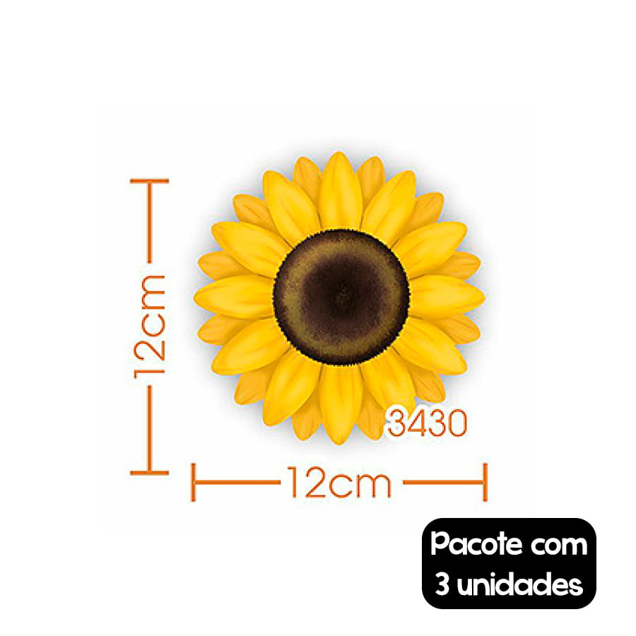 Aplique Decorativo Pequeno Girassol - 3 unidades