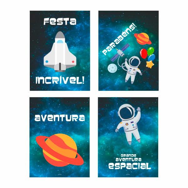 Kit Painel Decorativo Astronauta - 04 unidades