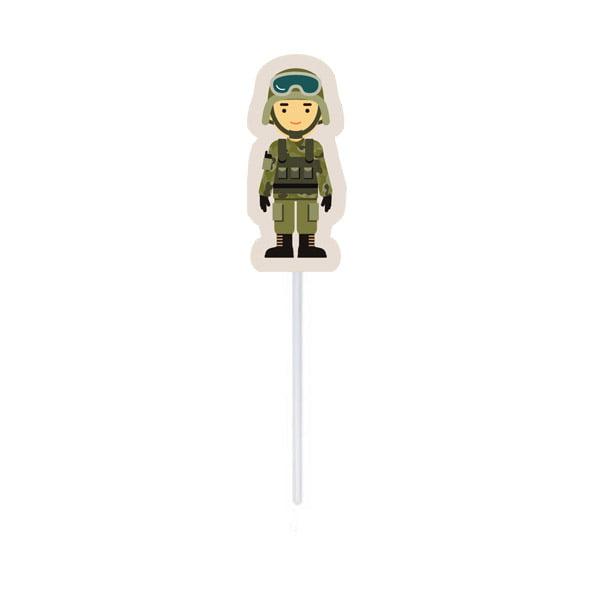 Topper Decorativo Soldado Festa Militar - 10 unidades