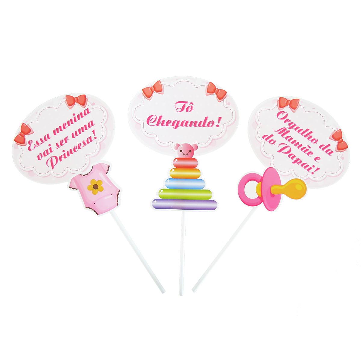 Plaquinhas Chá de Bebê Menina - 10 unidades