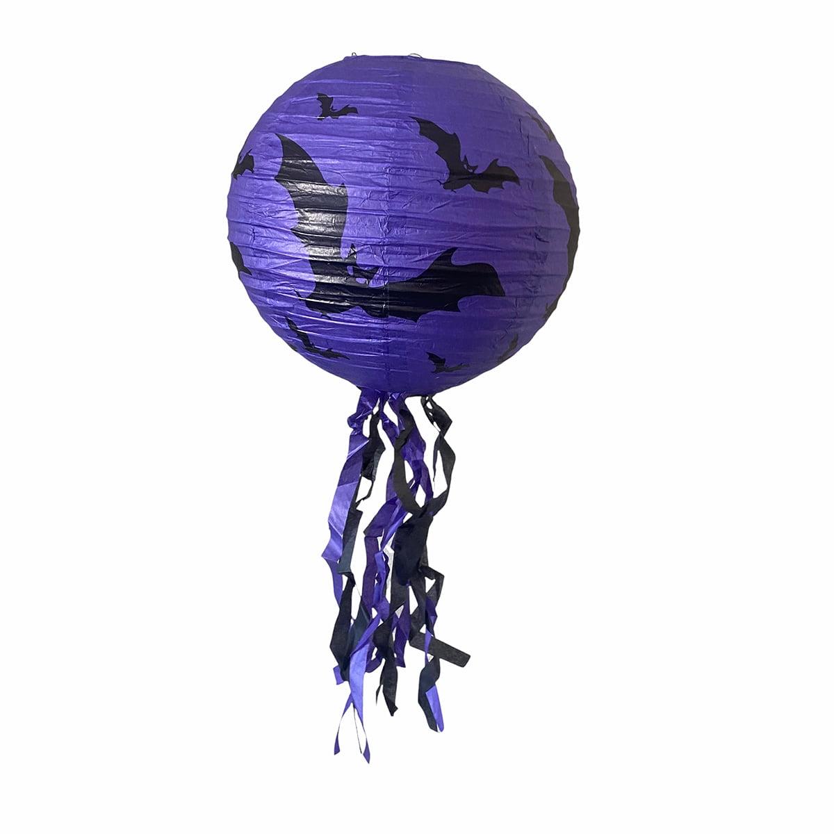 Luminária de Papel Decoração Halloween Roxa Morcego