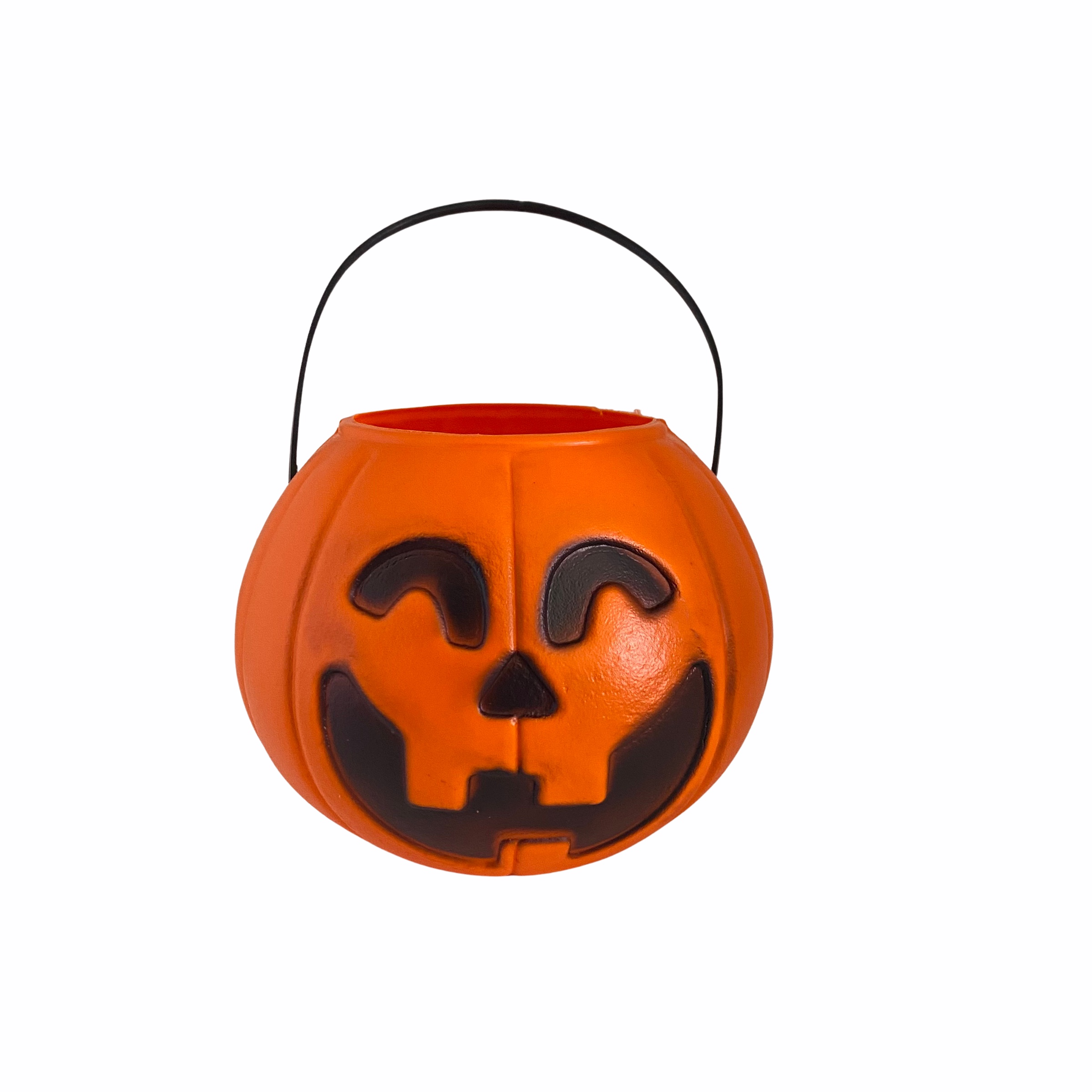 Balde Abóbora Médio 12,5 cm Laranja Decoração Halloween