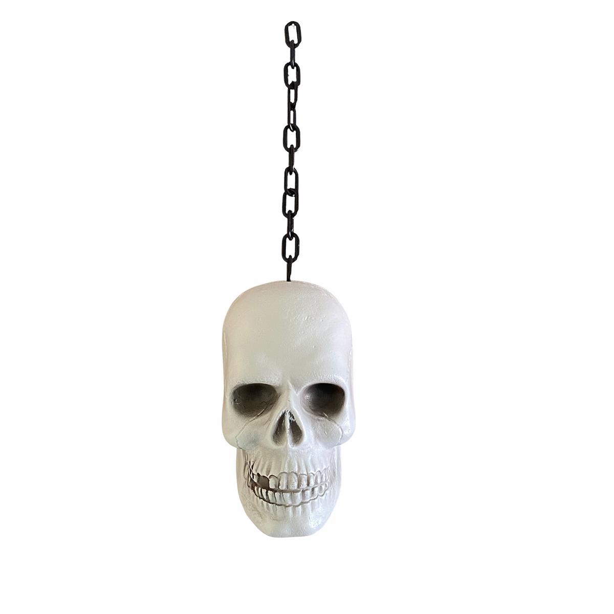 Cabeça Crânio de Plástico Branca na Corrente Halloween
