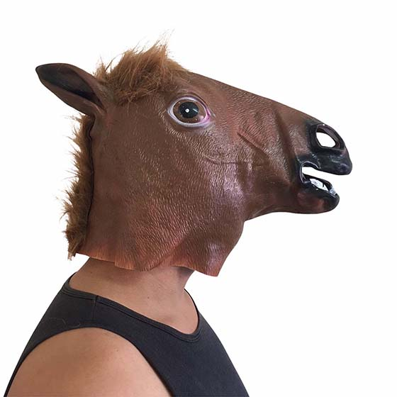 Máscara Cabeça de Cavalo Marrom Látex Cosplay