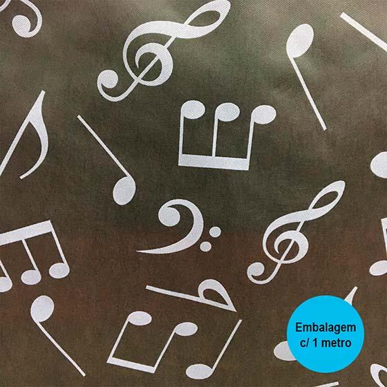 TNT Estampado Notas Musicais Preto - 1 Metro