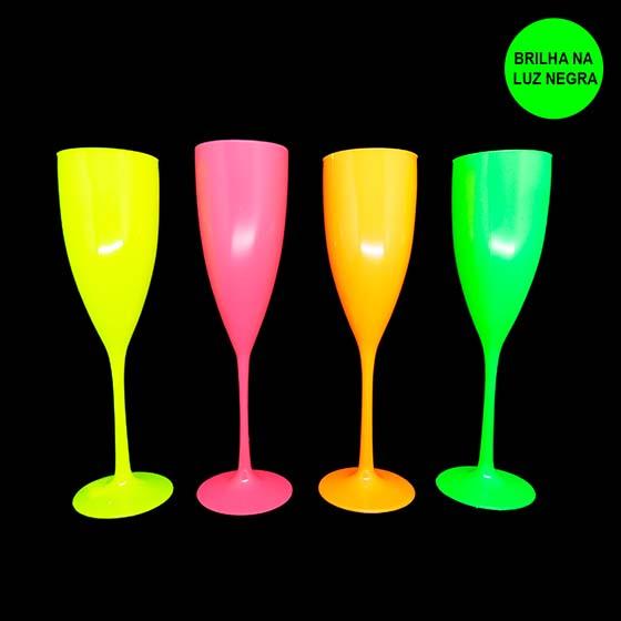 Taça Champagne 180 ml Rosa Neon
