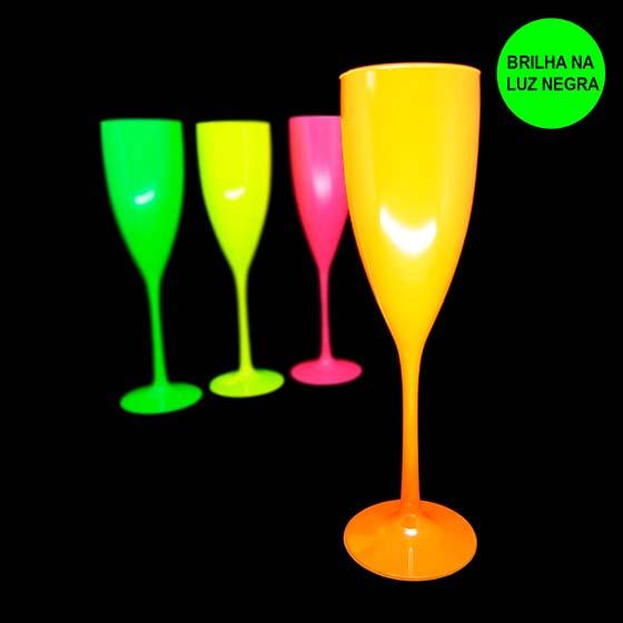 Taça Champagne 180 ml Laranja Neon