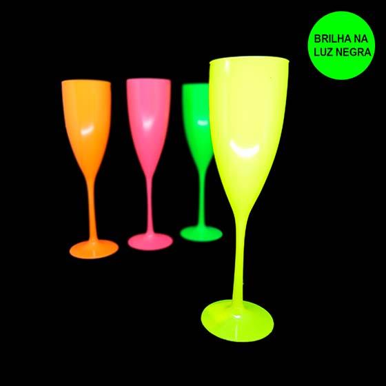 Taça Champagne 180 ml Amarela Neon