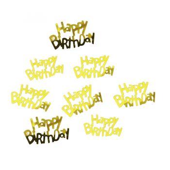 Mini Apliques para Lembrancinhas Happy Birthday Dourado - 15 gramas