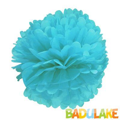Balão Pompom de Seda Grande Azul Bebê