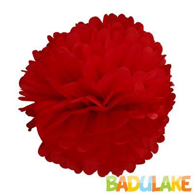 Balão Pompom de Seda Grande Vinho