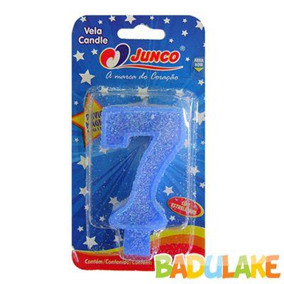 Vela Número 7 Azul