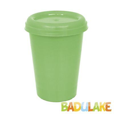Copo Plástico com Tampa Verde Flúor 250 ml
