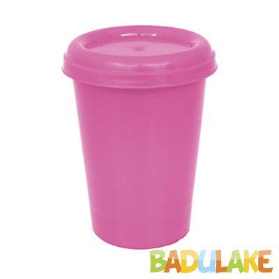 Copo Plástico com Tampa Rosa 250 ml
