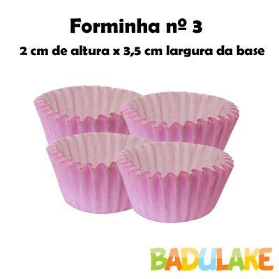 Forminha Lisa de Papel Número 3 Rosa - 100 unidades