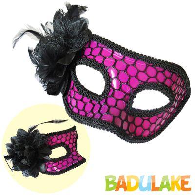 Máscara Rendada com Flor Pink