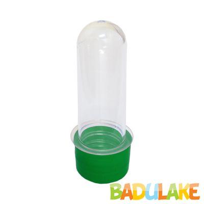 Tubete 8cm Transparente de Tampa Plástica Verde - 10 unidades