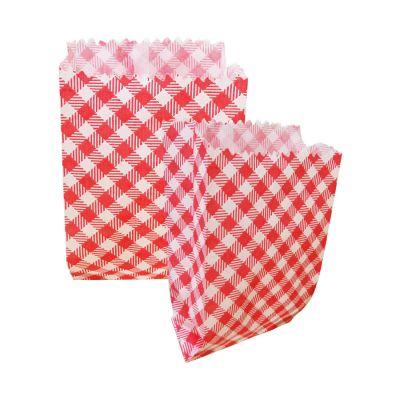 Saquinho de Papel Xadrez Vermelho 8 cm x 14 cm - 50 unidades