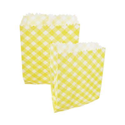 Saquinho de Papel Xadrez Amarelo 8 cm x 14 cm - 50 unidades