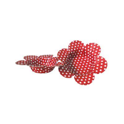 Mini Forminha Flor Scaranelo Vermelha com Bolinhas Brancas - 50 unidades