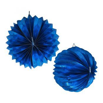 Lanterna Metalizada Azul Escuro Origame
