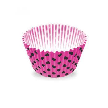Forminha de Papel Número 5 Poa Pink/Preto- 100 unidades