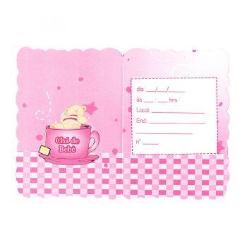 Convite Ursinho Xícara Chá de Bebê Rosa - 8 unidades