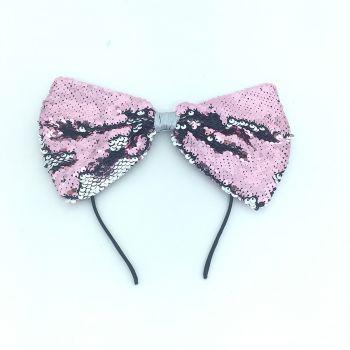 Tiara Laço Paete Rosa com Prata