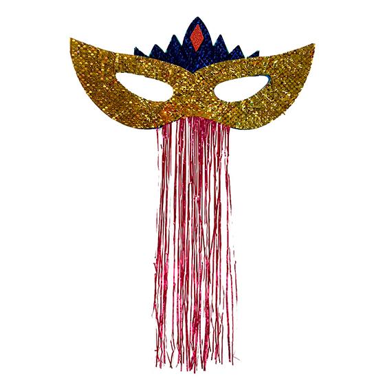 Máscara Carnaval Grande Paetês para Decoração Dourada Ref. 209