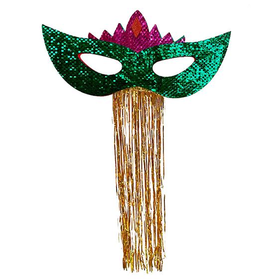 Máscara Carnaval Grande Paetês para Decoração Verde Ref. 209