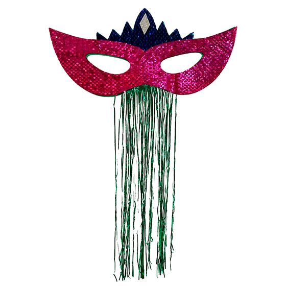 Máscara Carnaval Grande Paetês para Decoração Pink Ref. 209