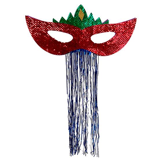 Máscara Carnaval Grande Paetês para Decoração Vermelha Ref. 209