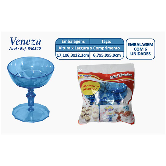 Mini Taça Veneza Azul - 6 unidades