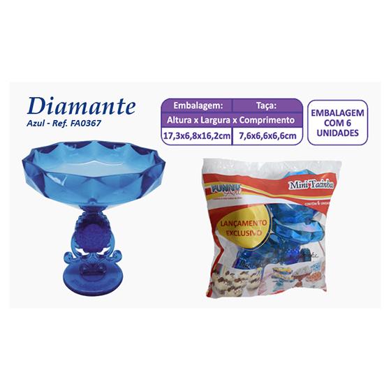 Mini Taça Diamante Azul - 6 unidades