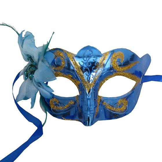Máscara Metalizada com Flor Azul