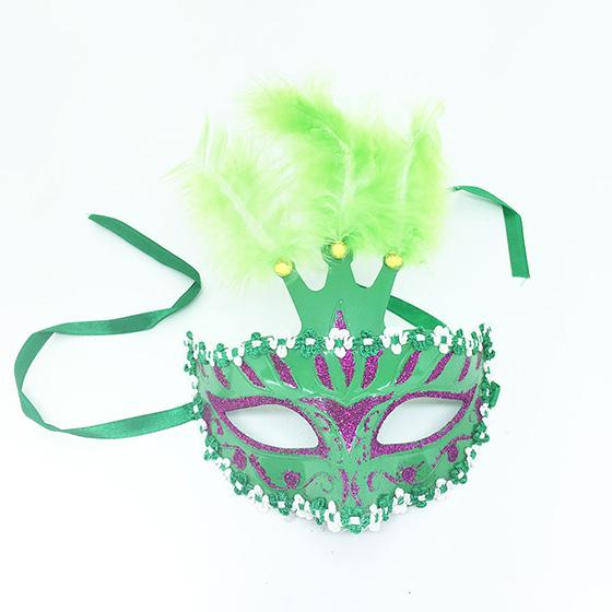 Máscara Decorada Três Penas Verde