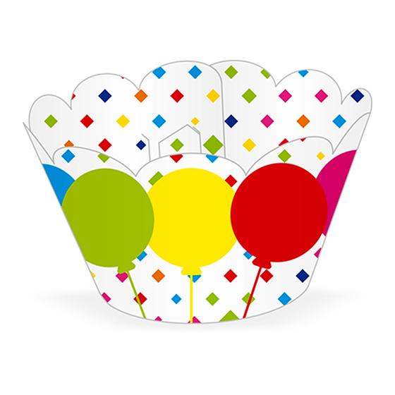 Saia para Cupcake Balões Coloridos - 12 unidades