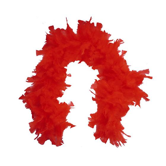 Estola Boá Grande de Penas Vermelha