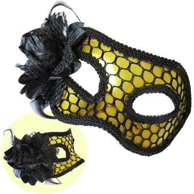 Máscara Rendada com Flor Dourada