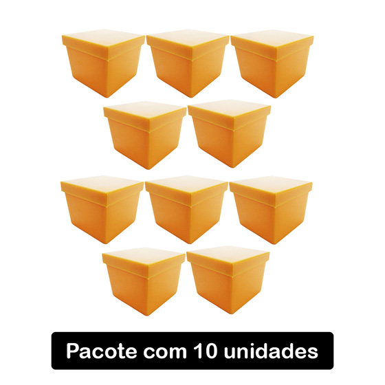 Caixinha Acrílico 4x4 Leitosa Laranja C/10