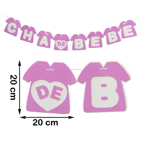 Varal Chá de Bebê Camiseta Rosa