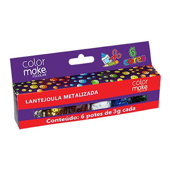 Lantejoula Metalizada Escolar 6 cores Potes de 3 gramas