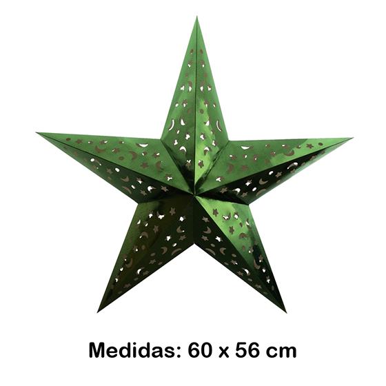 Luminária Estrela Grande Verde 60x56 cm